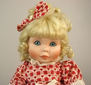 Byj Porcelain Doll Red Heart Valentine Checked Blonde Blue Eyes
