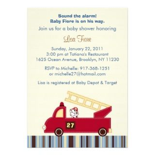 Dalmatian Fire Truck Boy Baby Shower Invitation