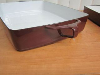 Three Brown Dansk Enamel Coated Cast Iron Casserole Baking Pans Three