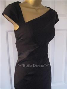 Karen Millen Black Matt Satin Panel Pencil Dress 8