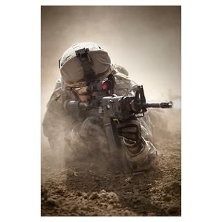 Army Ranger in Afghanistan combat scene Poster