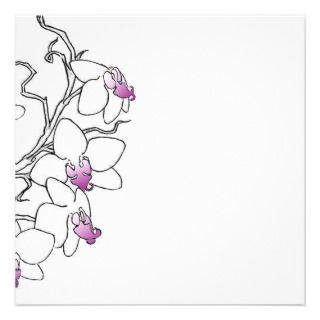 and White Orchid Blank Card Personalized Invitation