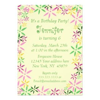 Spring floral whimsical girls birthday invitation