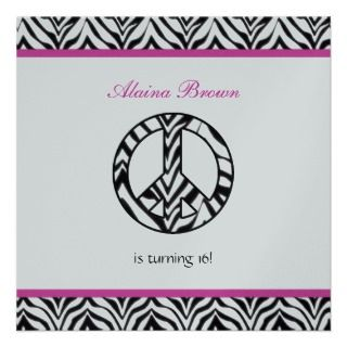 Zebra Print Peace Sign Party Invitations, Announcements, & Invites