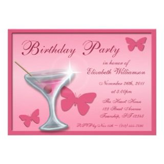 Butterfly Martini Birthday Party Invitations