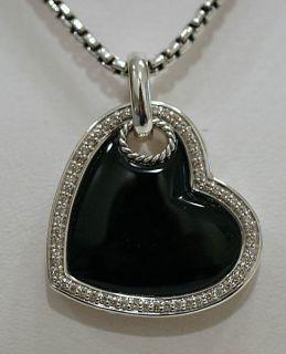 David Yurman Black Onyx Heart Tag Diamond Necklace $1350