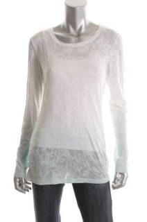 Karen Kane New Blue Burnout Pattern DIP Dye Long Sleeves Crewneck