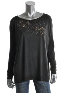 Karen Kane New Black Floral Embellished Long Sleeves Casual Top Shirt