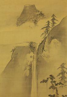 Japanese Hanging Scrolls  KANO MINENOBU Sansui Landscape Painting @