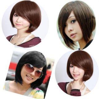 New Womens Girls Human Short Fashion Straight Hair Wigs Sexy 3 Colors