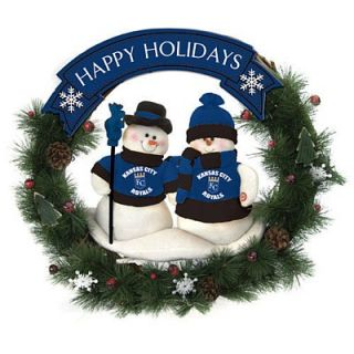 Kansas City Royals Team MLB Snowman 20 inch Holiday Christmas Wreath