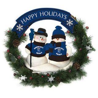 Kansas City Royals Team MLB Snowman 20 inch Holiday Christmas Wreath