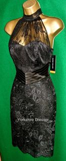 New Karen Millen Black Halter Neck Lace Cocktail Pencil Dress USA 4