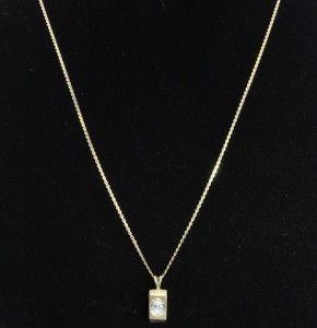 Kaspar & Esh Estate 14K Gold Oval Diamond Solitaire Rectangle Pendant