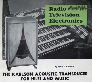 1958 Plans John Karlson 12 Speakers Cabinet Enclosures