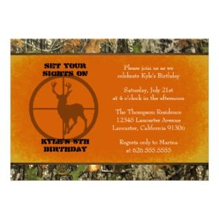 Orange   Camo Birthday Boy Invitations