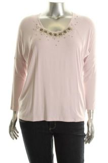 Karen Kane New Pink Dolman Sleeve Embellished Shirt Knit Top Plus 2X