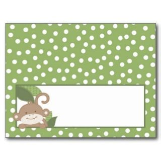 Writable Place Card Safari Jungle Monkey Green Post Card