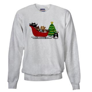 Kitty Cat, Sleigh Christmas Tree   Sweatshirt