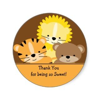 Baby Animals Thank You Sticker