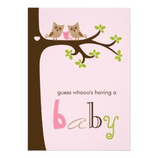Owl Family in a Tree Custom Invitations