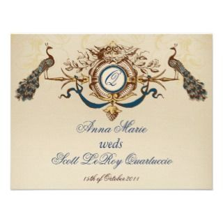 Vintage Peacock Reception Card Horizontal Personalized Invites