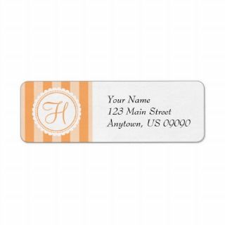Candy Striper Monogram Address Labels (Orange)