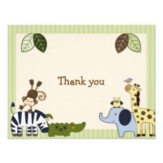 Jungle Animal Adventure Thank You Note Cards Custom Invites
