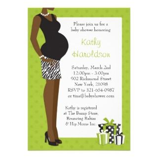 African American Baby Shower Unisex Green Zebra Announcement