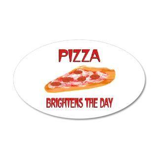 Food Wall Decals  Pizza Brightens 38.5 x 24.5 Oval Wall Peel