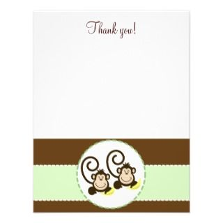 SILLY MONKEYS TWINS 4x5 Flat Thank you note Invitation