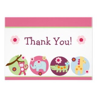 Jungle Animals Thank You Card invitations by Personalizedbydiane