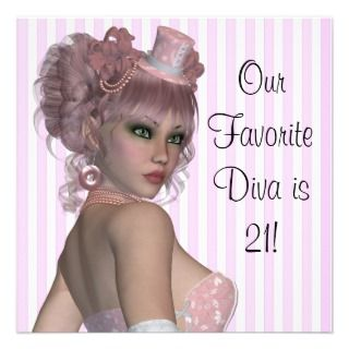 Pink Diva Womans 21st Birthday Party Personalized Invites