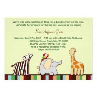 Neutral Jungle Animals Baby Shower Invitations