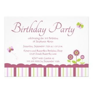 Cute butterfly girls birthday party invitation