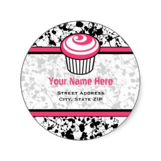 Pink Cupcake Address Label   Black Paint Splatter Stickers