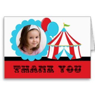 Custom Photo Circus Birthday Thank You Note Card
