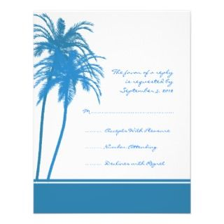 Blue Palm Tree Tropical Wedding Invitations, Announcements, & Invites