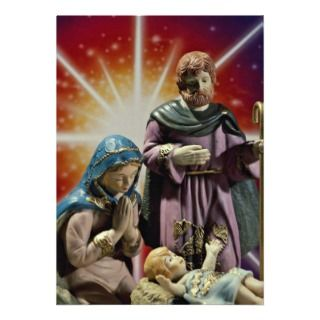 Unique Mary, Joseph and baby Jesus with colorful s Announcements