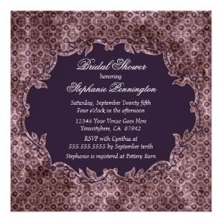 Elegant trendy purple bridal shower party invite