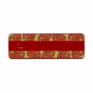Christmas gift tags holiday ribbons red gold return address label