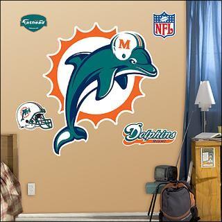 miami dolphins logo fathead wall graphic $ 89 99