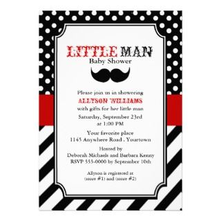 Little Man Baby Shower Personalized Invite