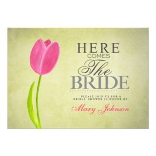 Pink & Green Tulip Bridal Shower Party Card