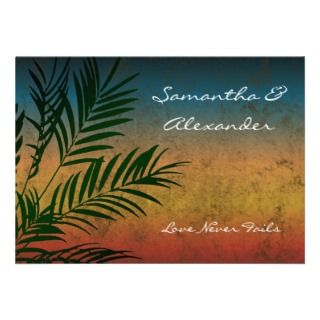 Sunset Palm Tree Tropical Wedding Invitations