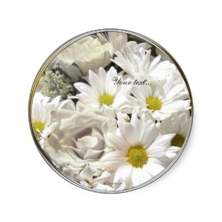 White Daisy Flowers Custom Envelope Seals Sticker