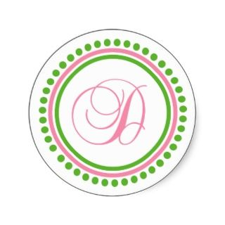 Monogram (Light Pink / Green Dot Circle) Round Stickers