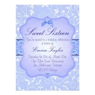Elegant Floral Blue Sweet16 Birthday Invitation