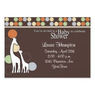 Blue and Green Giraffe Baby Shower Invitation