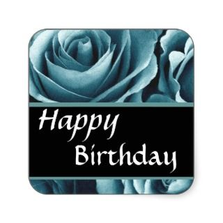 Elegant Happy Birthday Blue Roses Square Sticker